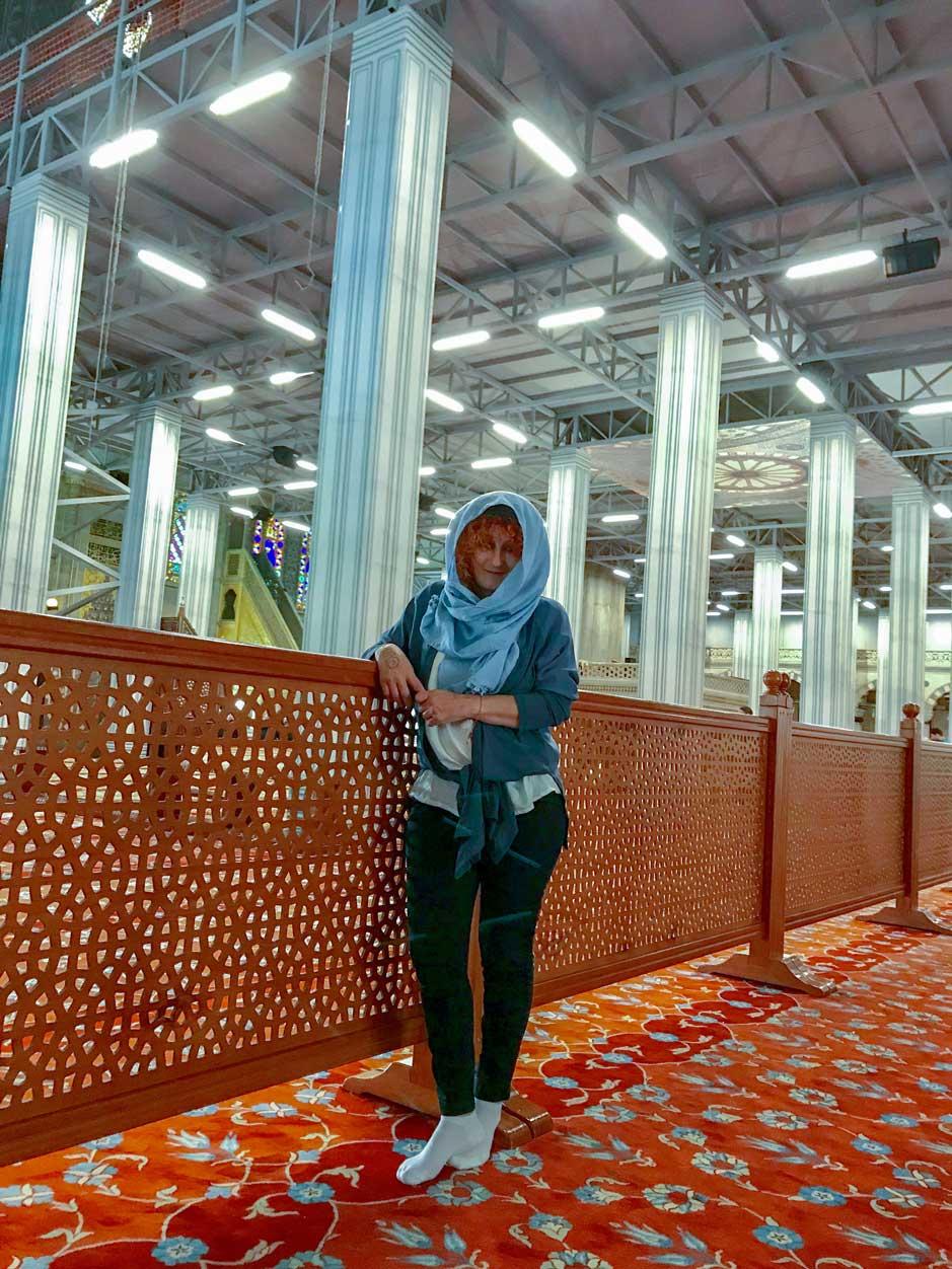 curlynomad turkey istanbul inside blue mosque amazing alone at prayer sultanahmet camii photo