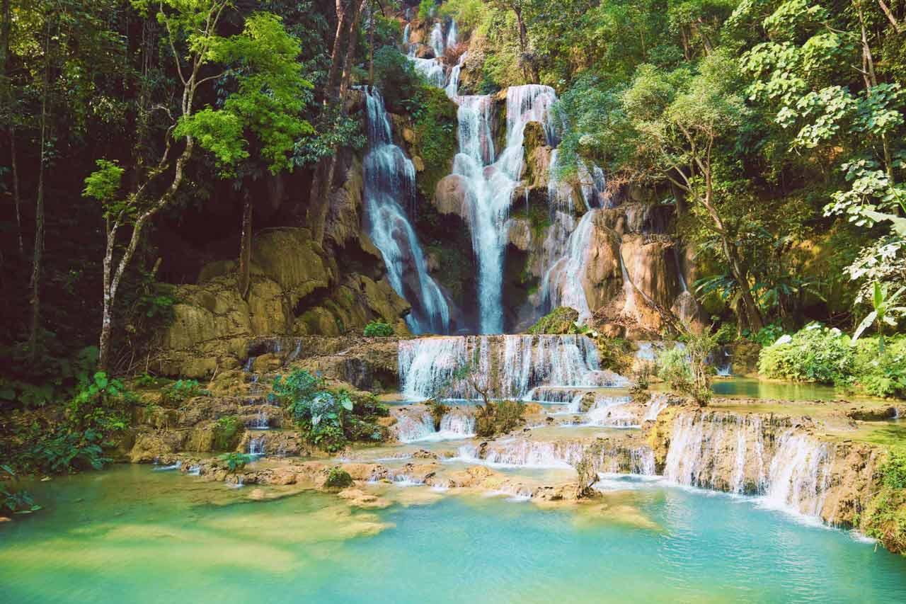 curly nomad lao luangprabang kuang si waterfall photo
