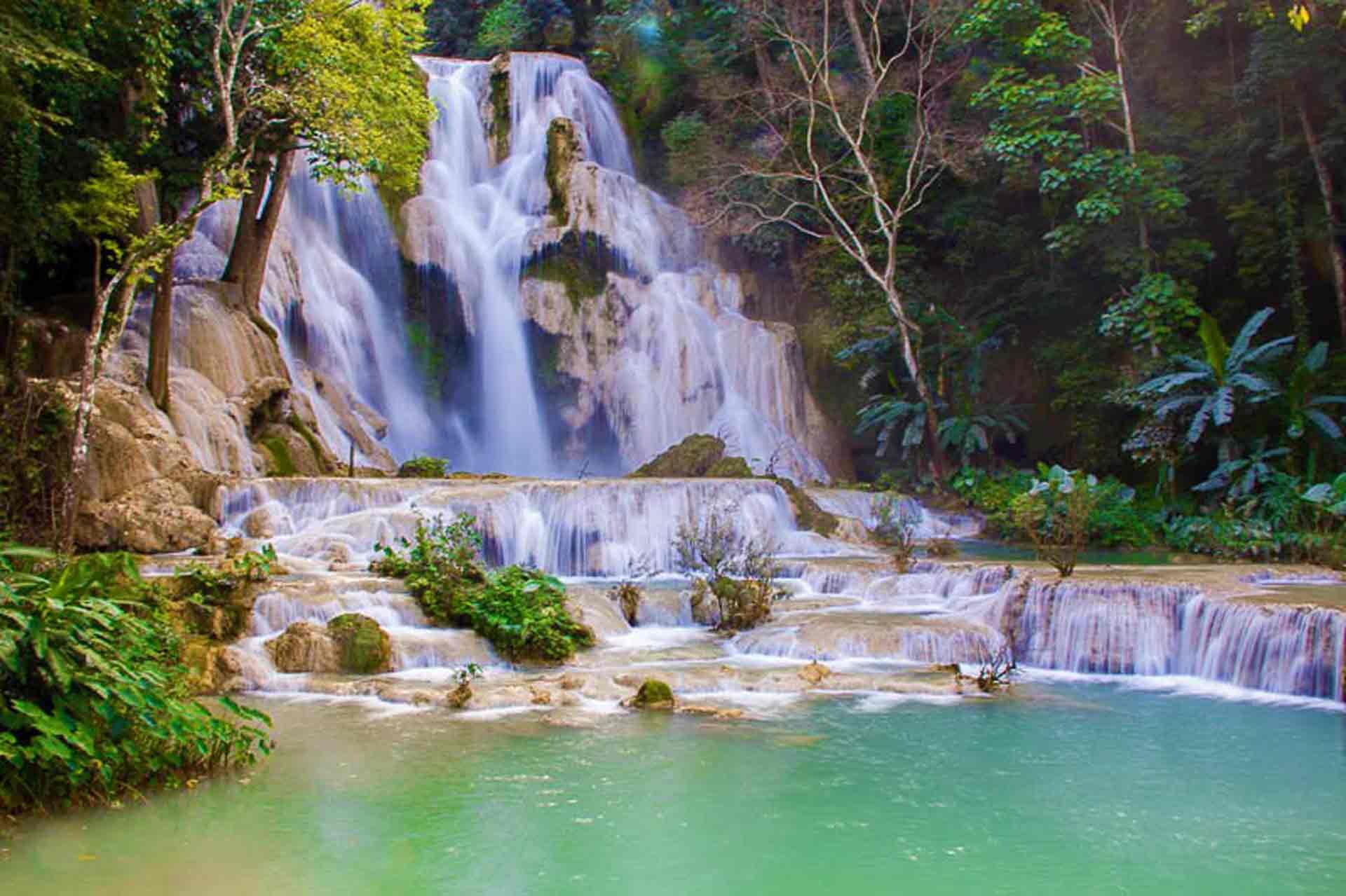 curly nomad lao luang prabang kuangsi main waterfalls photo