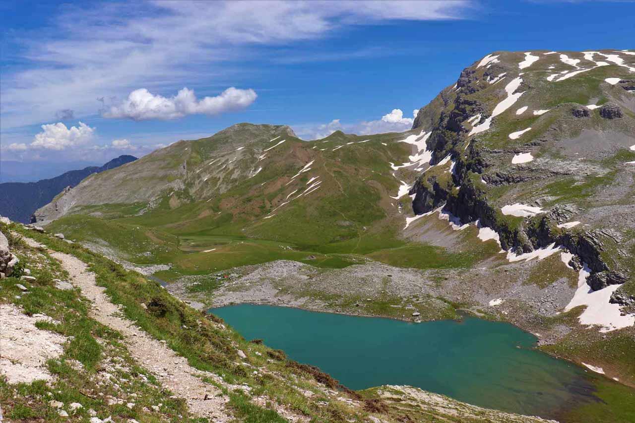 curly nomad europe greece epirus papigo alpine lake hiking mountain meadows drakolimni where the dragons live photo